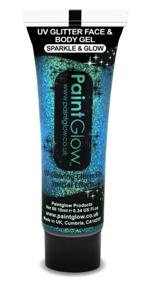 PaintGlow UV Face and body glitter gel blue