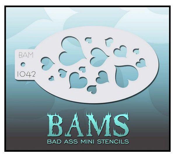 Bad Ass BAM stencil hearts 1042