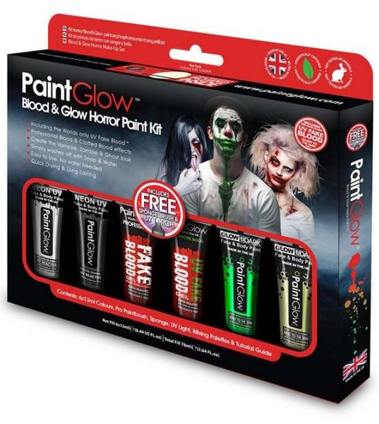 PaintGlow Blood Glow Horror Halloween Face Paint kit