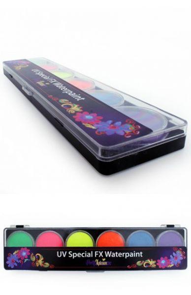 Face Paint palette watercolor fluor 6 colours PartyXplosion
