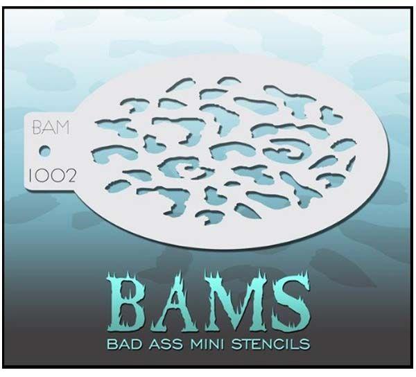 Bad Ass BAM face paint stencil 1002
