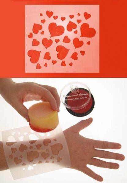 PXP Face Paint Template 12x13cm hearts