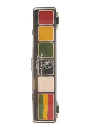 Face Paint Palette 5x3g and 1x6g rasta colors with brush 2.5