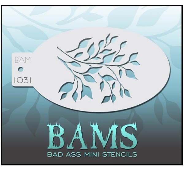 Bad Ass BAM face paint stencil 1031 Leaves